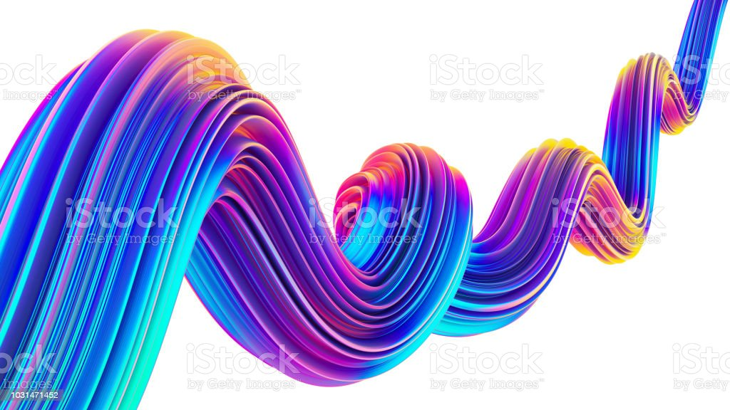 liquid design twisted shape in holographic neon colors for christmas picture id1031471452