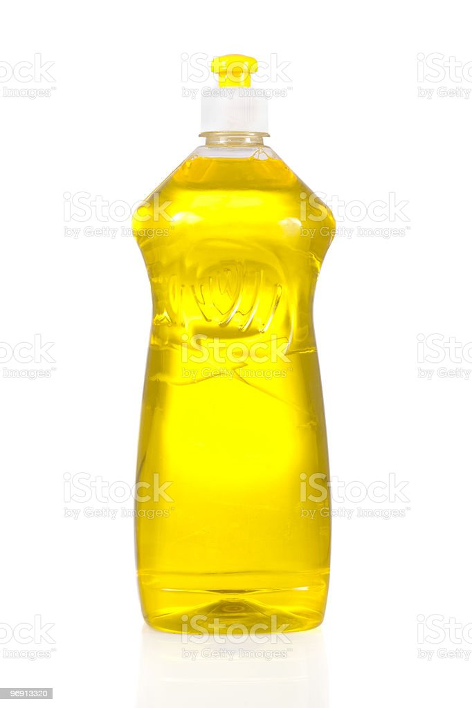 Liquid detergent bottle for dish washing isolated on white royalty-free stock photo