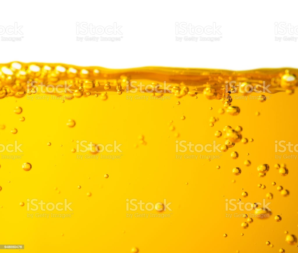 Liquid diesel oil motor car or juice syrup yellow water color with bubble stock photo