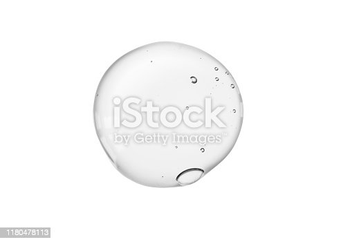 White blue green transparent liquid gel or serum on microscope screen white isolated background