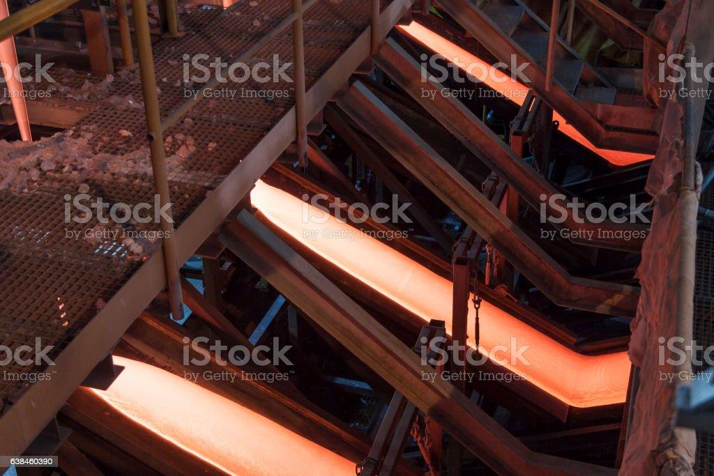 Liquid glass - production line stock photo