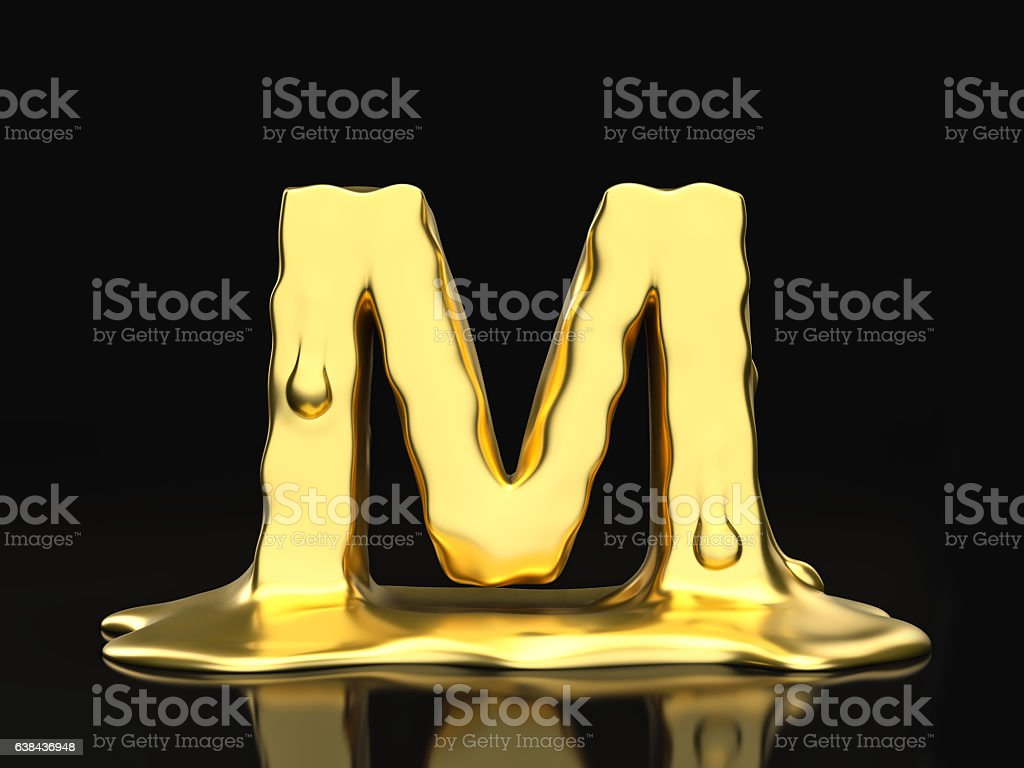 Liquid gold letter M stock photo