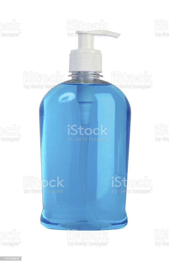 Liquid handwash soap in blue background royalty-free stock photo