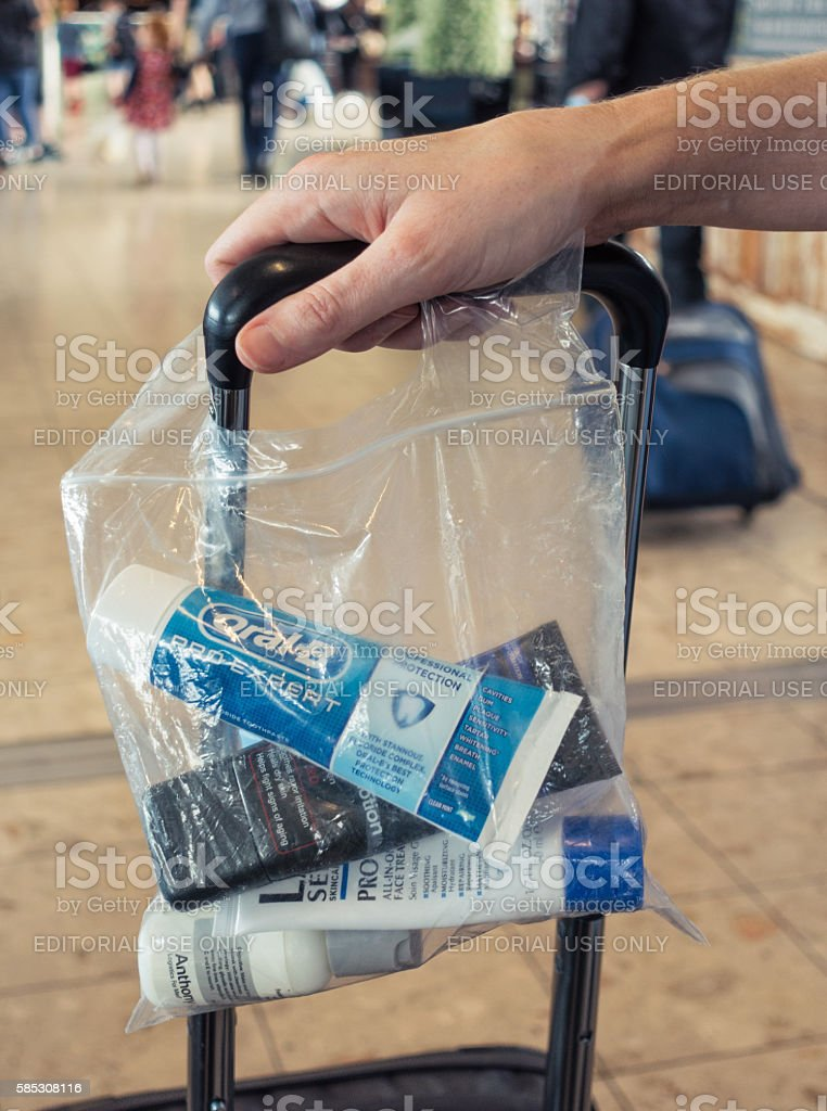 Liquid items in transparent bag for security at airport stock photo