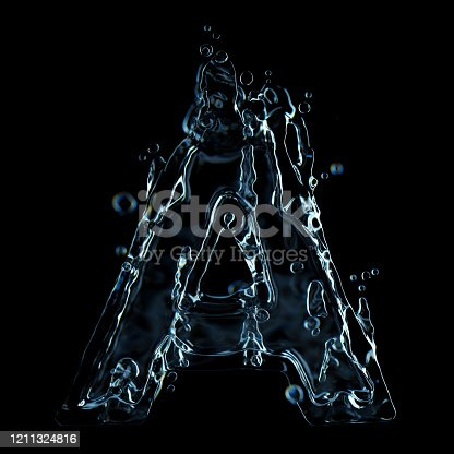 istock Liquid letter A water splash isolated on black background 1211324816