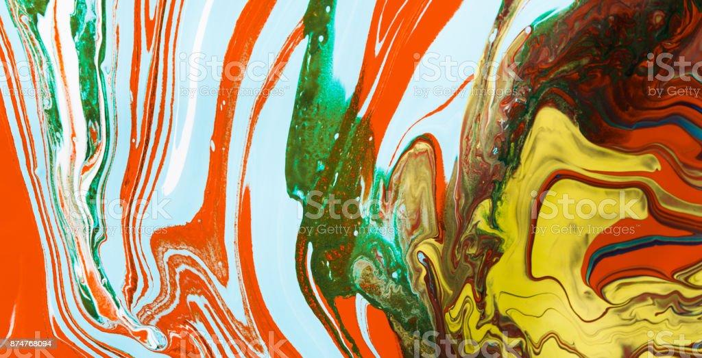 Liquid marbling acrylic paint background. Fluid painting abstrac stock photo