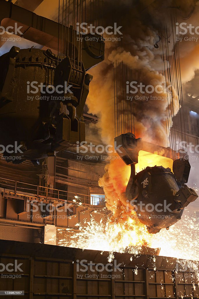 Liquid metall in foundry royalty-free stock photo