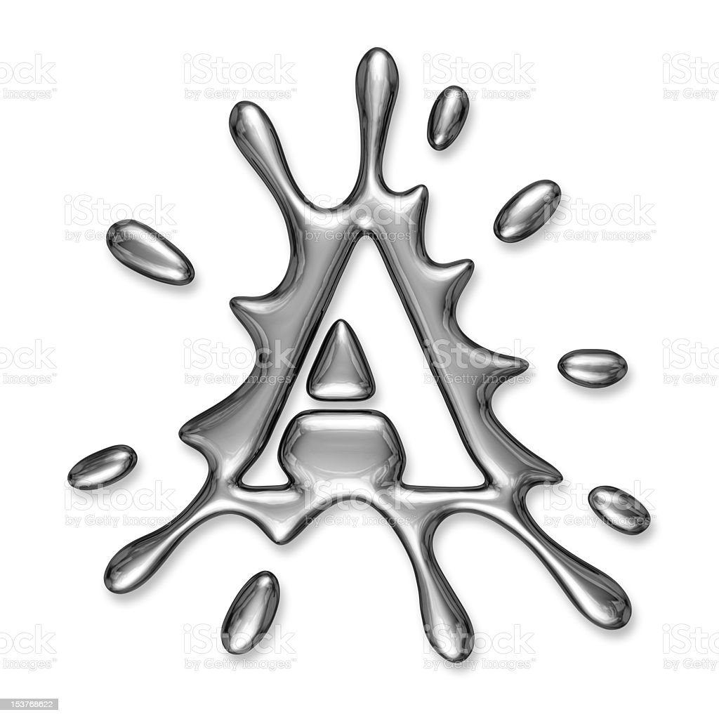 Liquid metal letter A royalty-free stock photo