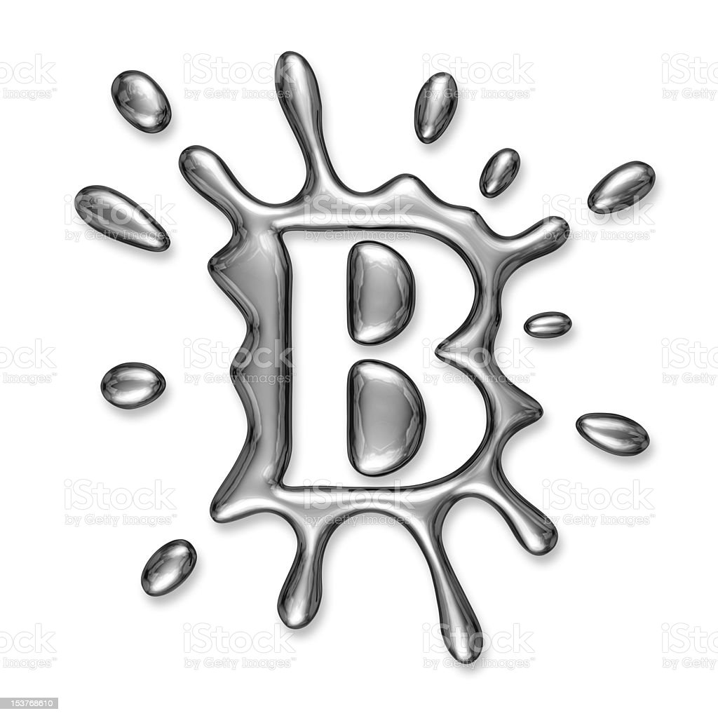 Liquid metal letter B royalty-free stock photo