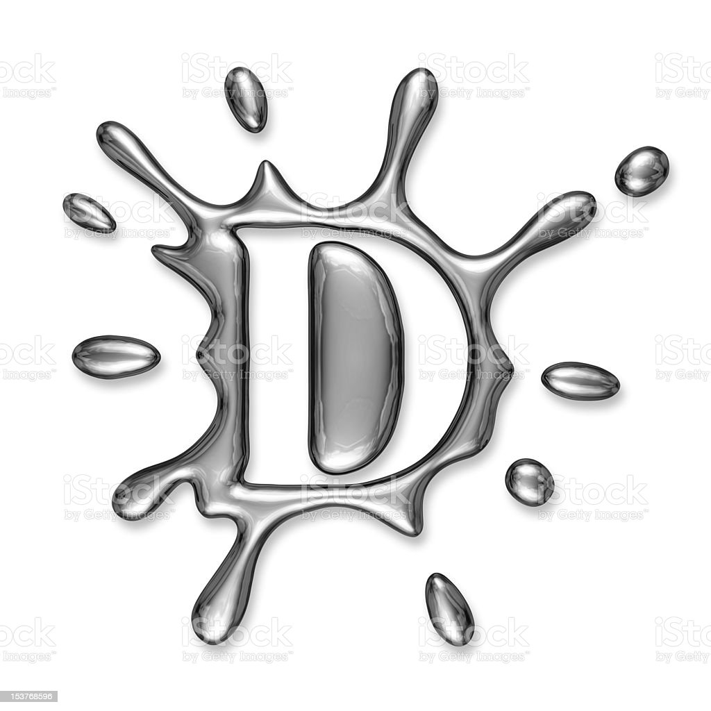 Liquid metal letter D royalty-free stock photo