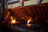 Liquid Molten Steel Industry. Hot metal casting.