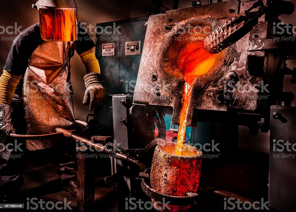 Liquid Molten Steel Industry stock photo