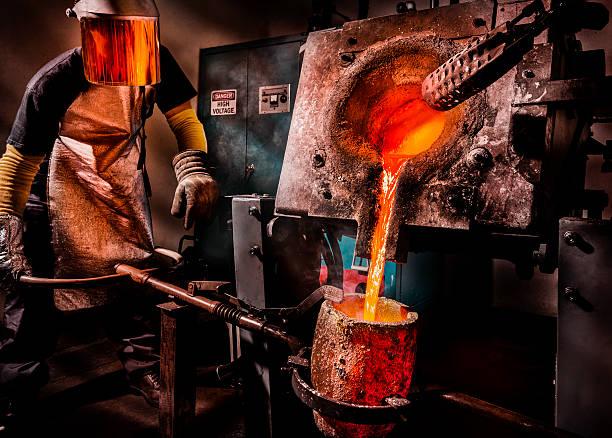 liquid molten steel industry - metallurgy stock photos and pictures