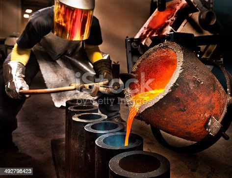 Worker pouring liquid metal into crucible.