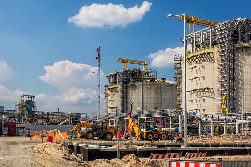 The liquid natural gas (LNG) storage station under construction, Swinoujscie, Poland