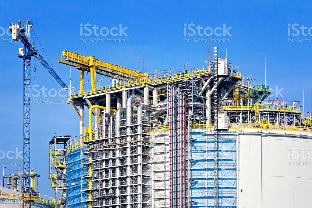 Liquid natural gas storage tanks under construction stock photo