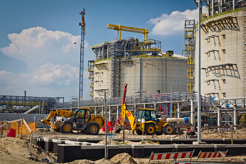 Liquid natural gas storage tank under construction, Swinoujscie, Poland