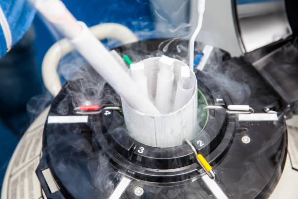 Liquid nitrogen cryogenic tank at laboratory stock photo