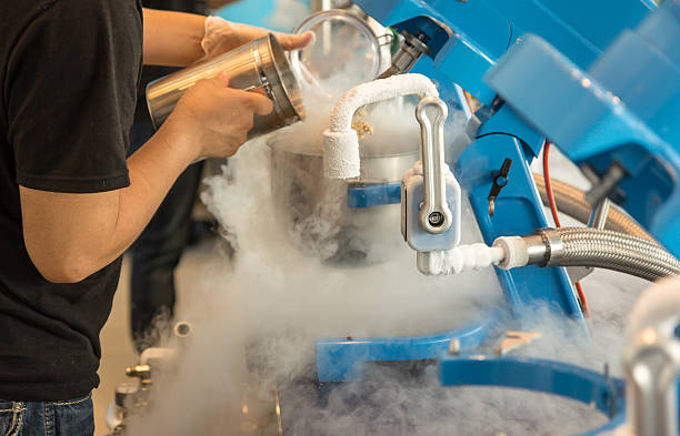 Liquid nitrogen ice cream A man prepares ice cream with the help of liquid nitrogen machines liquid nitrogen stock pictures, royalty-free photos & images