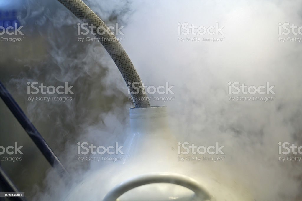liquid nitrogen refill stock photo