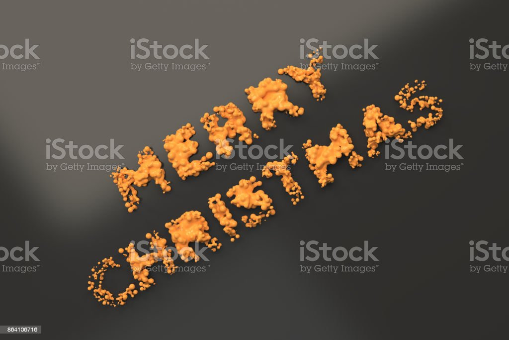 Liquid orange Merry Christmas words with drops on black background royalty-free stock photo