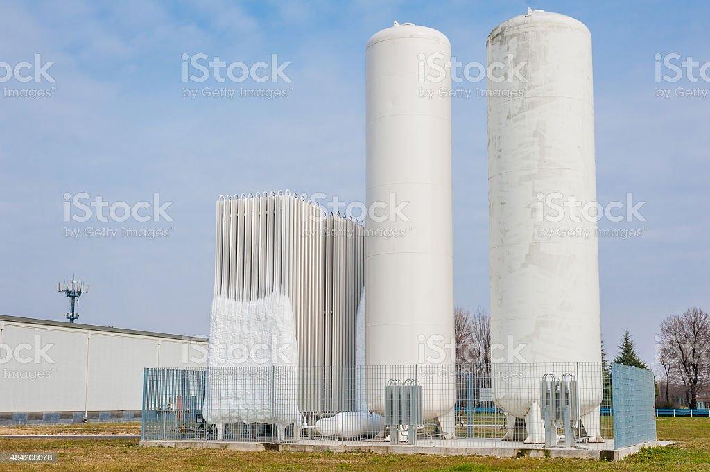 Liquid oxygen plant stock photo