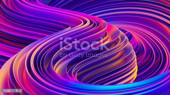 istock Liquid shapes abstract holographic 3D wavy background 1038727610