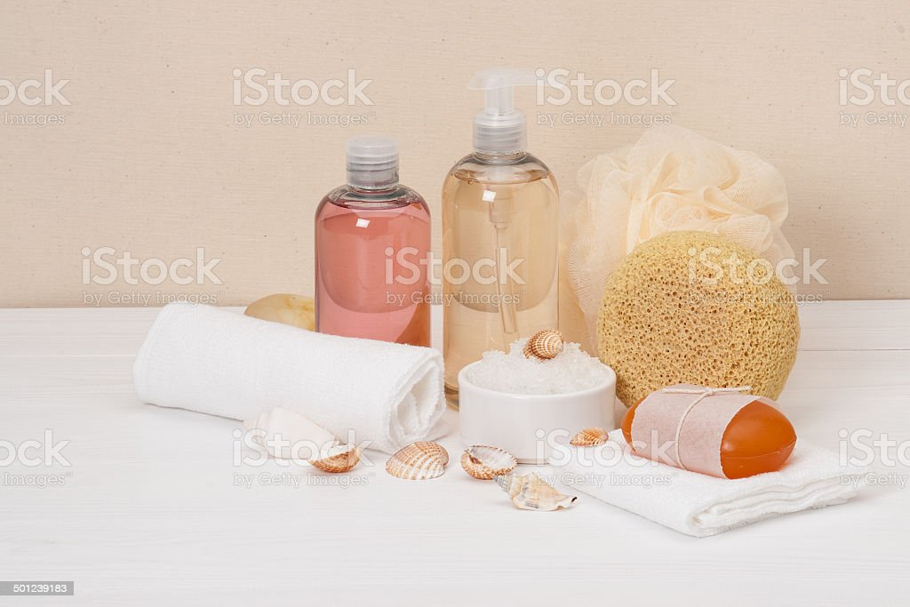Liquid Soap, Aromatic Bath Salt And Other Toiletry royalty-free stock photo