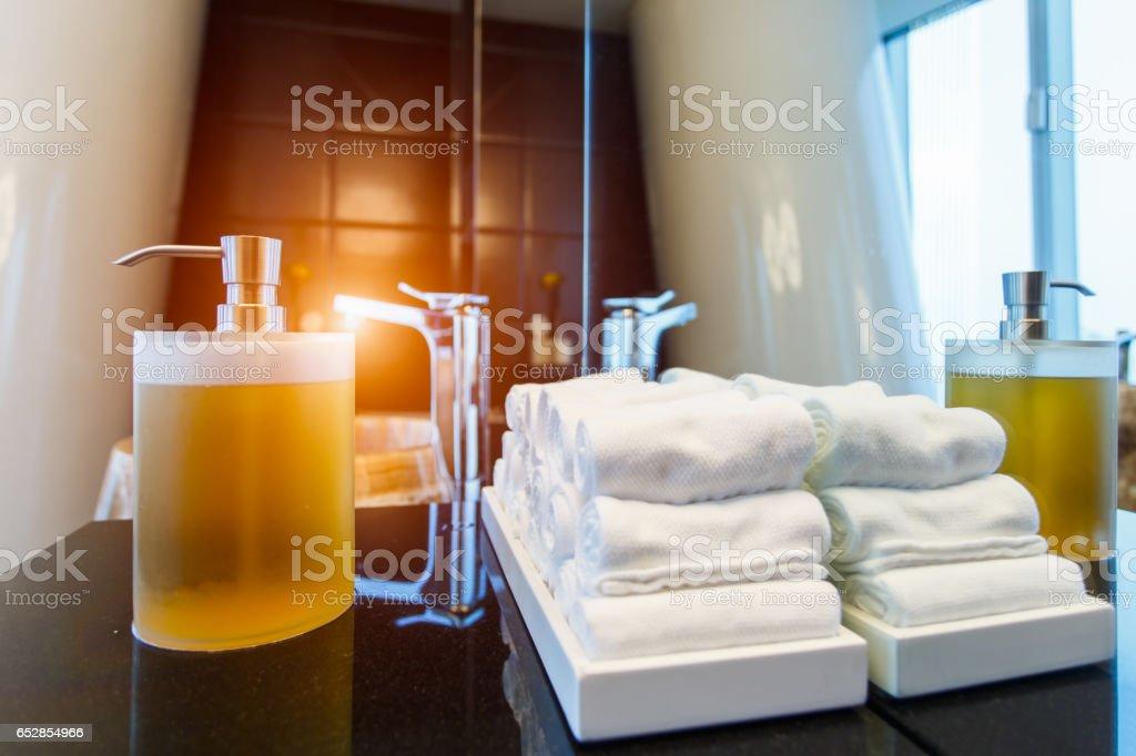 Liquid soap bottle on the bathtub in modern bathroom at home, hotel stock photo