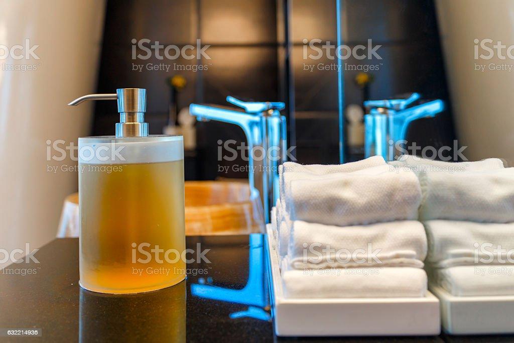 Liquid soap bottle on the bathtub in modern bathroom stock photo