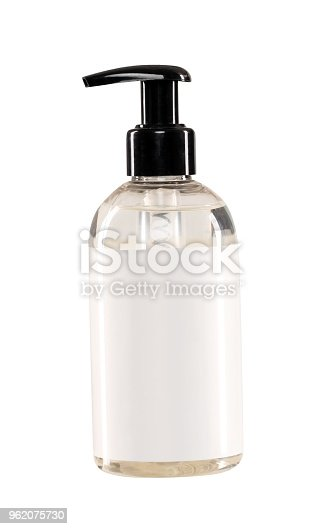 Liquid soap bottle with clipping path and blank label