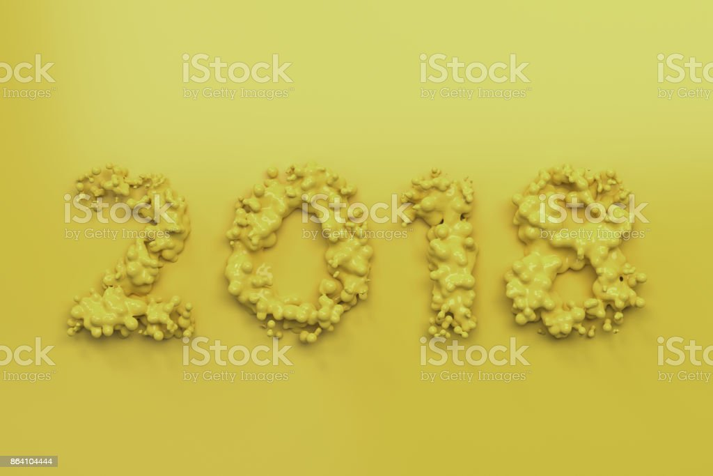 Liquid yellow 2018 number with drops on yellow background royalty-free stock photo
