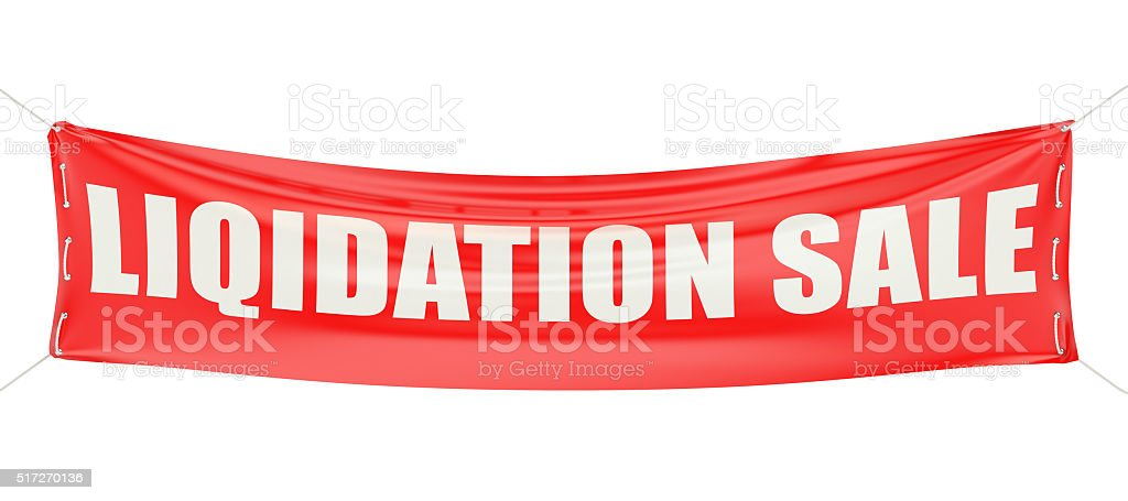 liquidation sale concept on the red banner stock photo