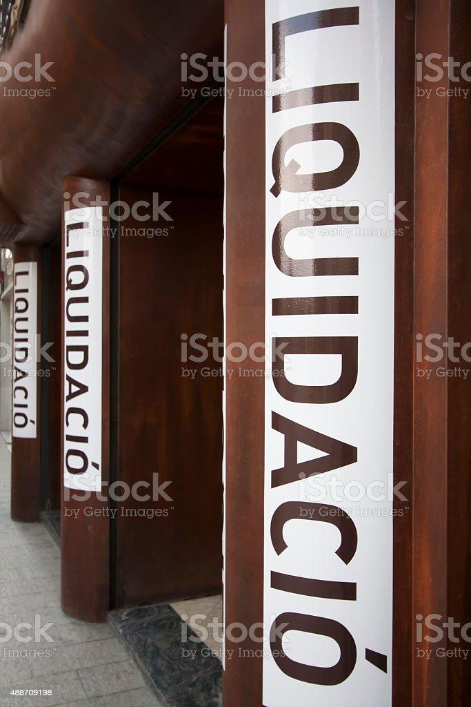 Liquidation sale signs, store closing. stock photo