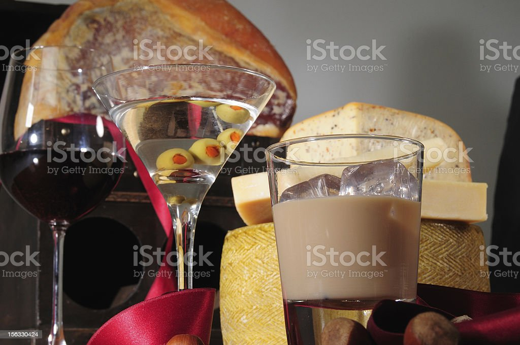 Liquor and appetizers. royalty-free stock photo