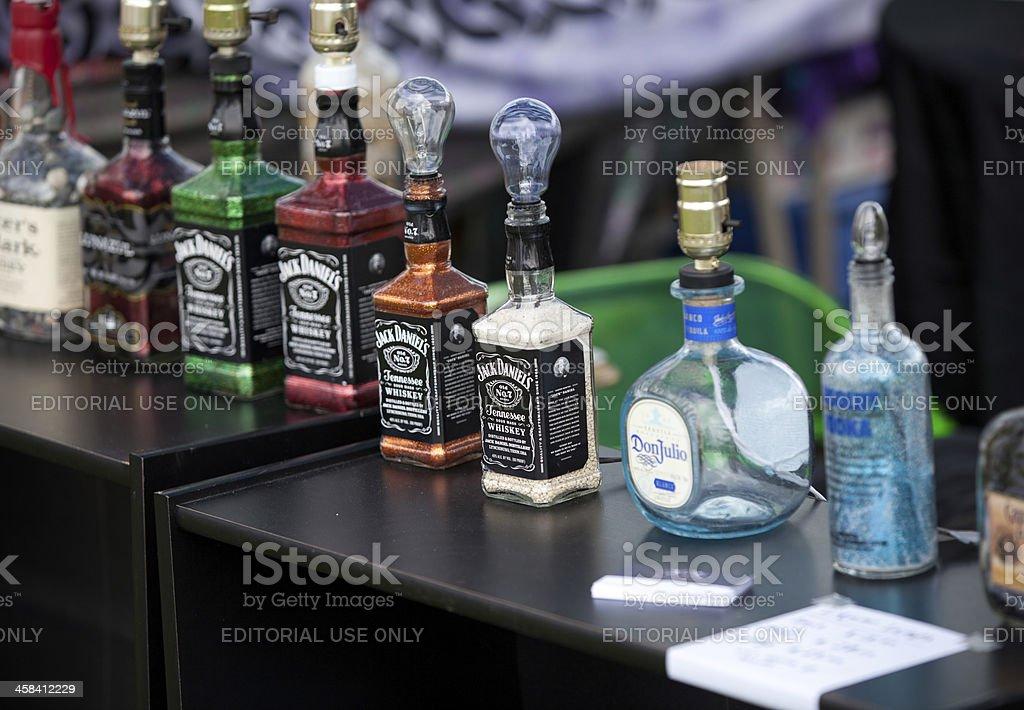 Liquor Bottle Lamps Royalty Free Stock Photo