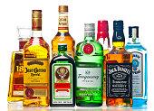 Liquor Bottles On A White Background