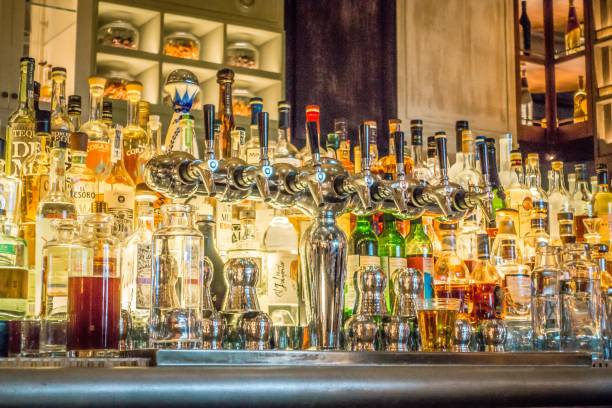 liquor on shelves at the bar stock photo