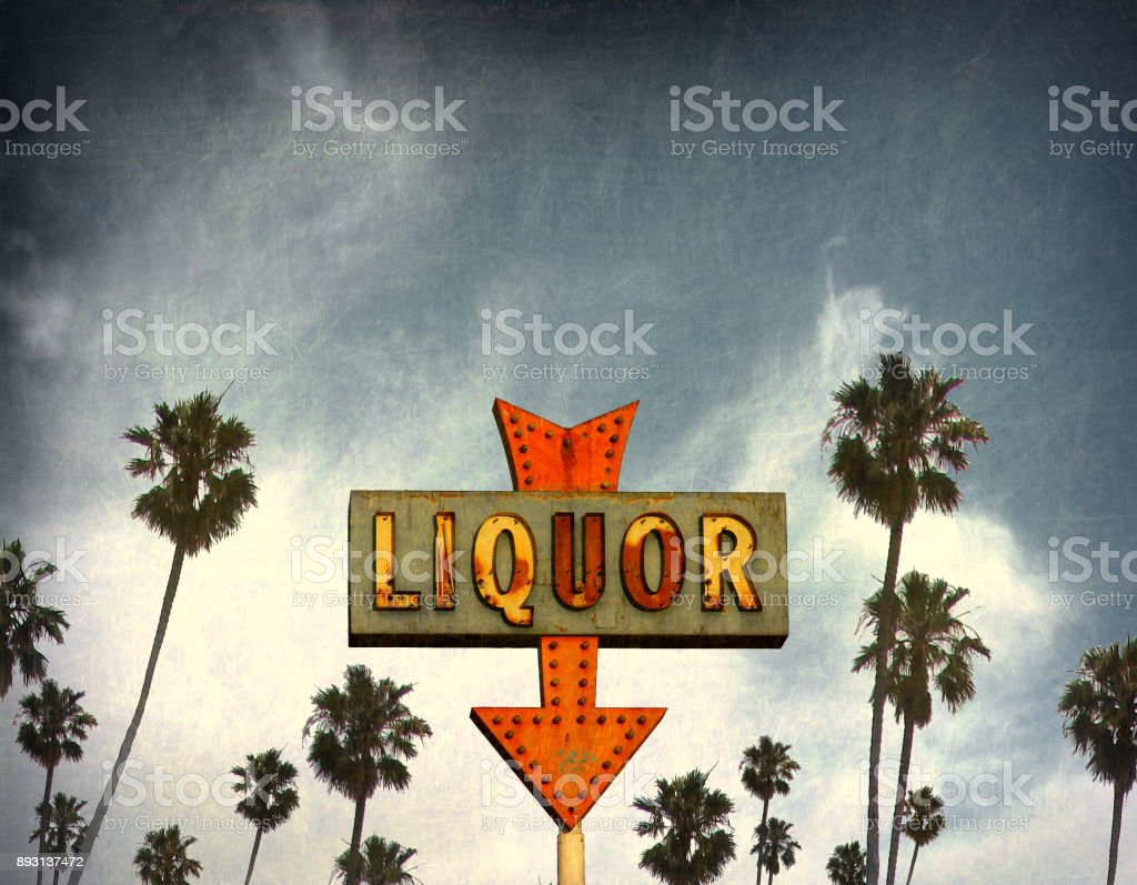 liquor store sign stock photo