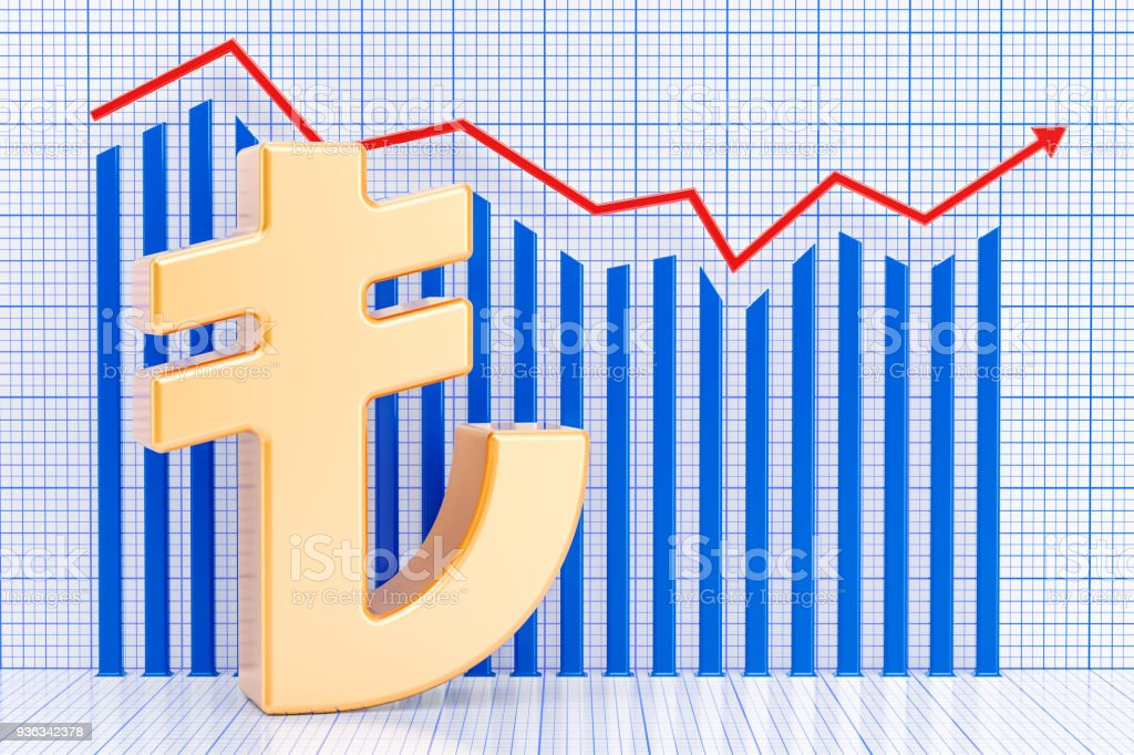 Lira symbol with growing chart. 3D rendering stock photo
