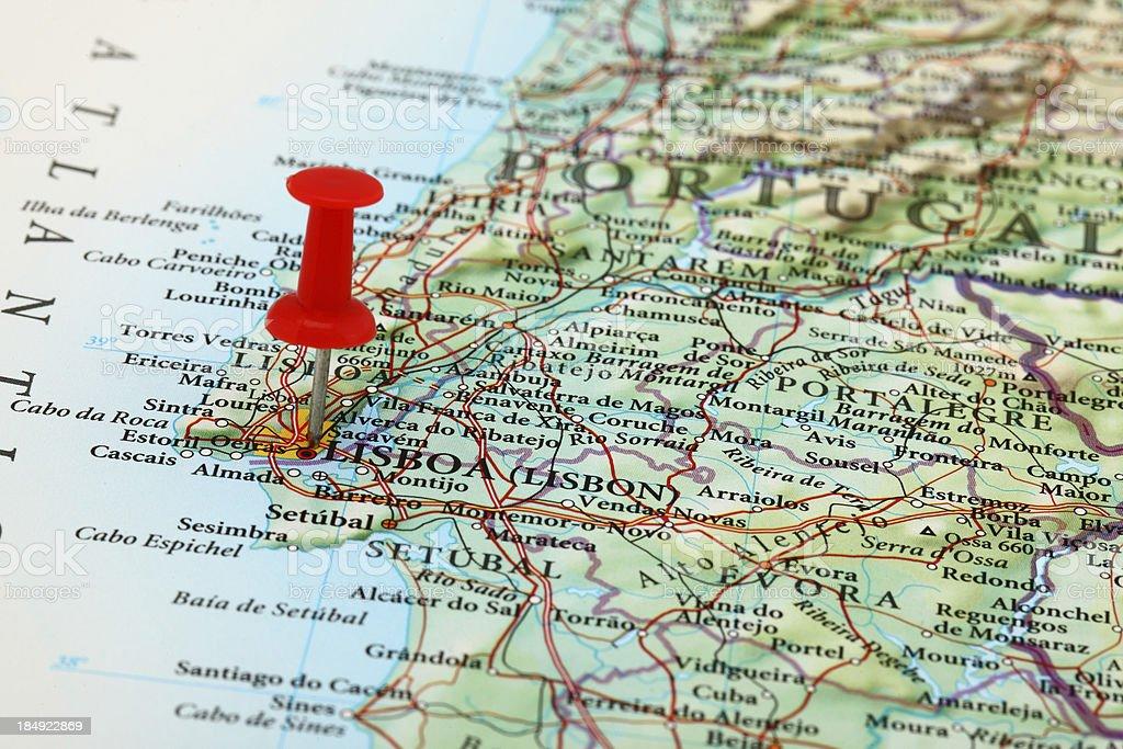Lisboa Lisbon Map Portugal Europe Stock Photo IStock - Portugal map distances