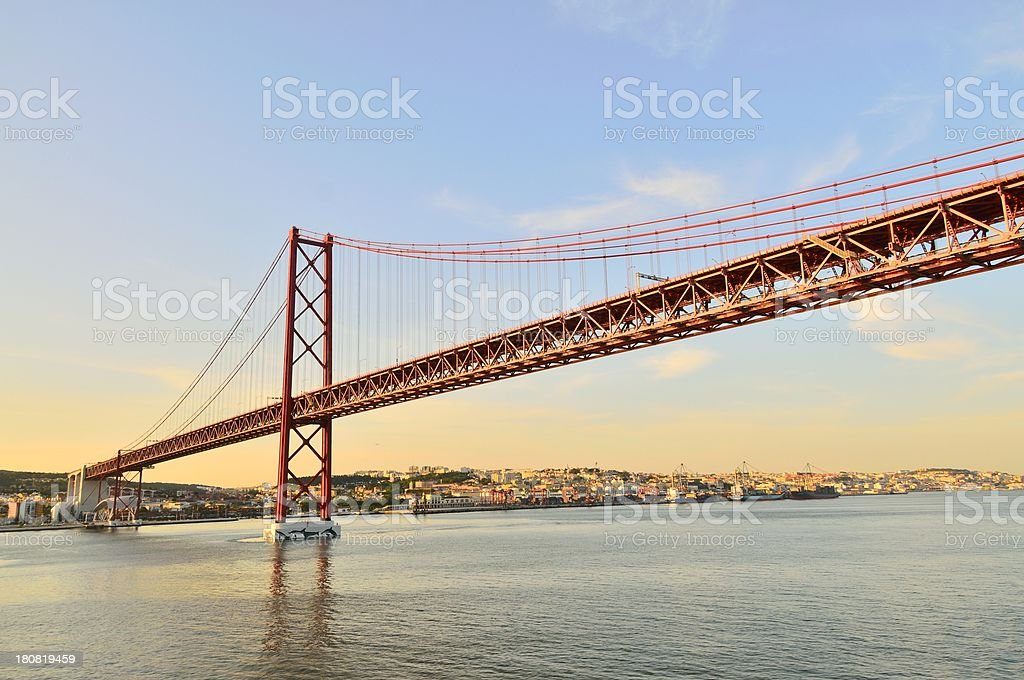 Lisbon 25 de Abril Bridge At Sunset stock photo