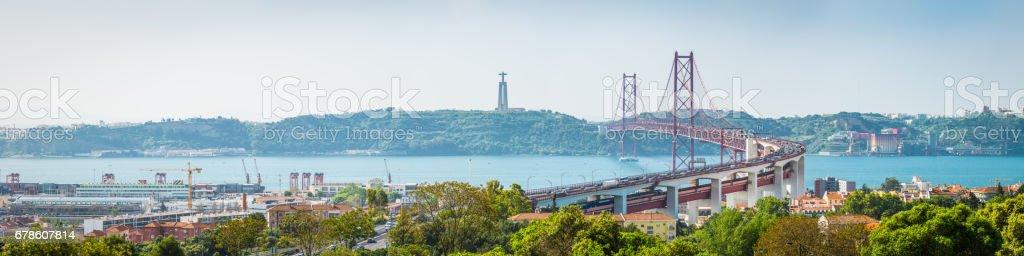 Lisbon 25 de Abril Bridge Cristo Rei Tagus panorama Portugal stock photo