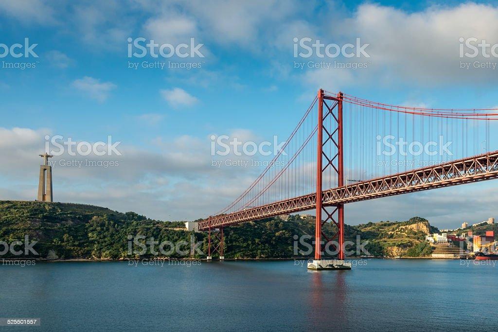 Lisbon 25 de Abril suspension Bridge in Portugal stock photo