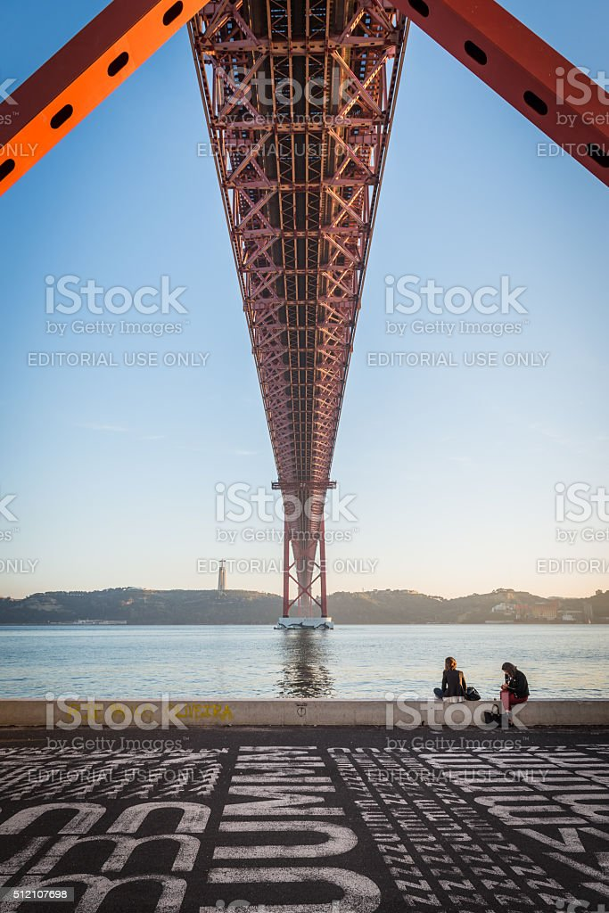 Lisbon, 25th of April Bridge stock photo