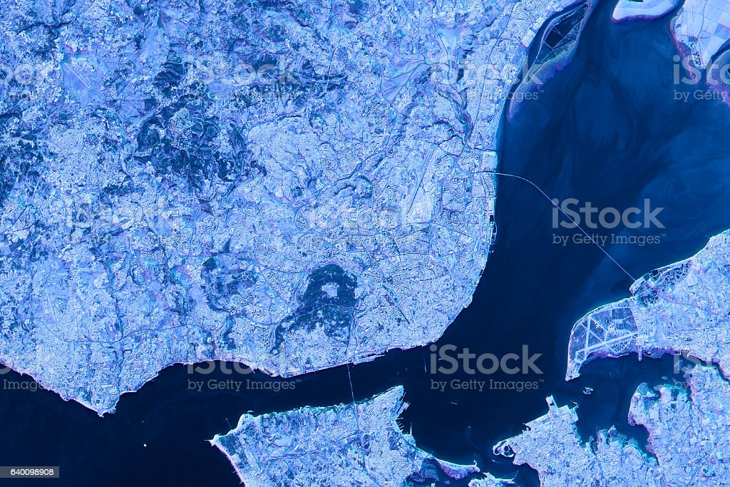 Lisbon Abstract City Map Satellite Image Blue Detail Stock Photo - Portugal map satellite
