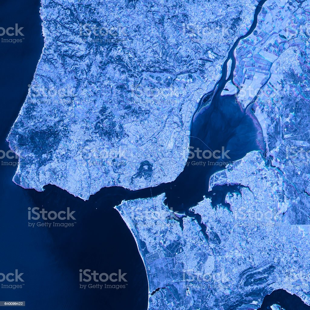 Lisbon Abstract City Map Satellite Image Blue Stock Photo - Portugal map satellite