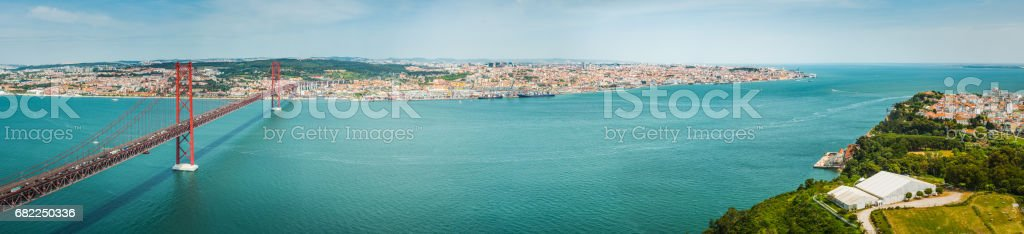 Lisbon aerial panorama 25 de Abril bridge watefront panorama Portugal stock photo