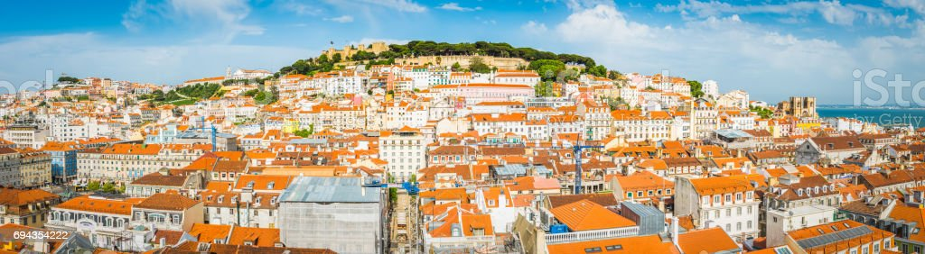 Lisbon aerial panorama over Baixa rooftop cityscape landmarks Portugal stock photo