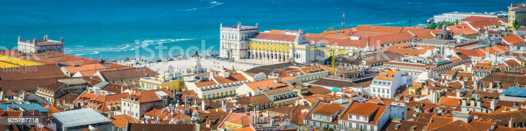 Lisbon Aerial Panorama Over Praca Do Comercio Iconic Square Portugal  Royalty Free Stock Photo